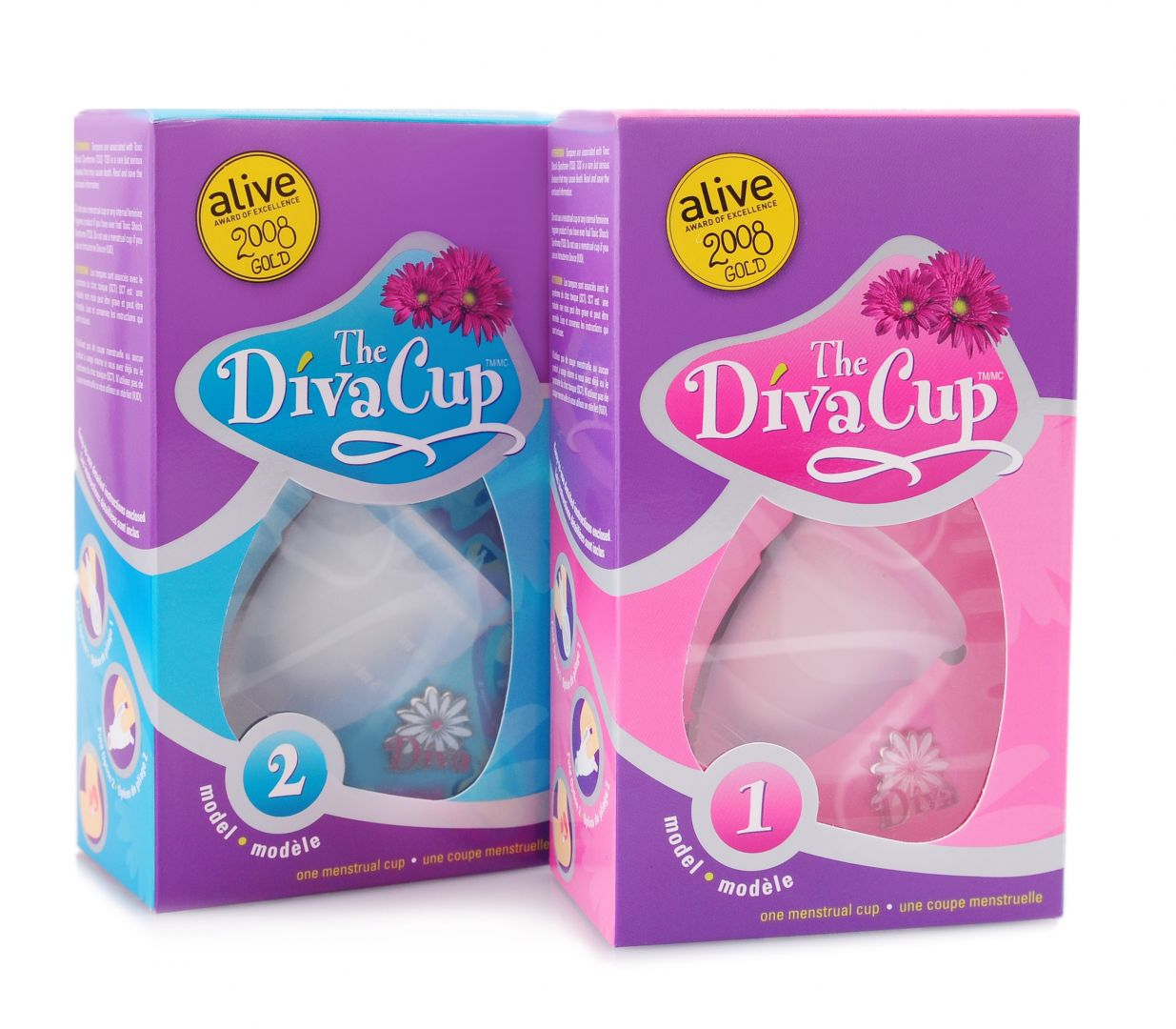 eco-friendly period options: product shot Diva Cup, both sizes