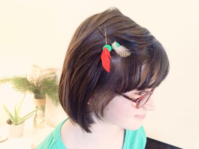 Girl with feather hair ornament