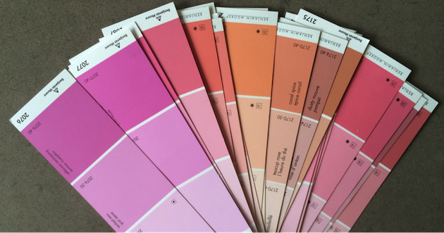 paint samples of pink and oranges