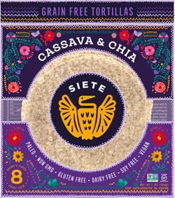 Siete Amazing Grain Free Cassava and Chia Tortilla - healthy fast foods