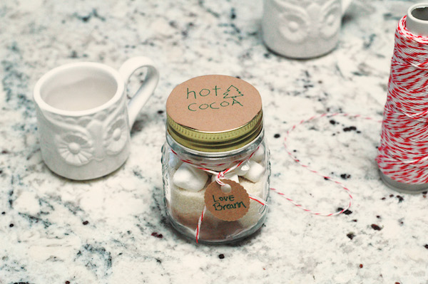 cocoa and marshmallows in a jar