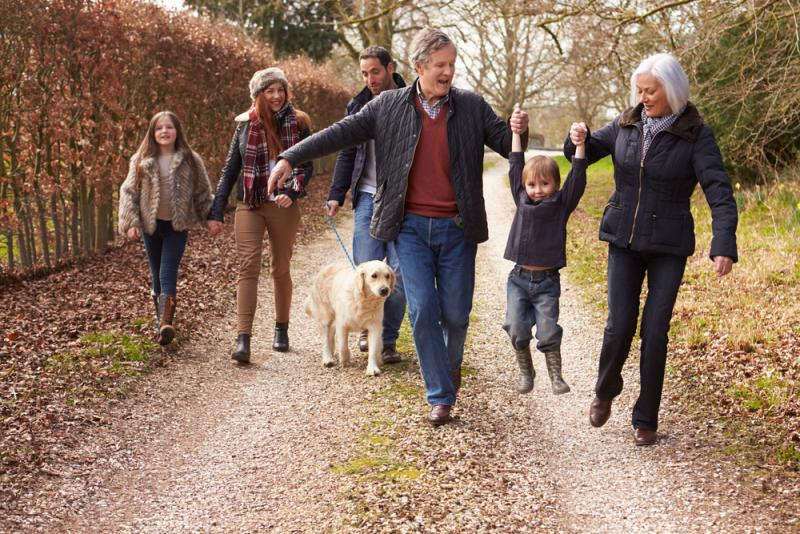 several generations of family out for a walk
