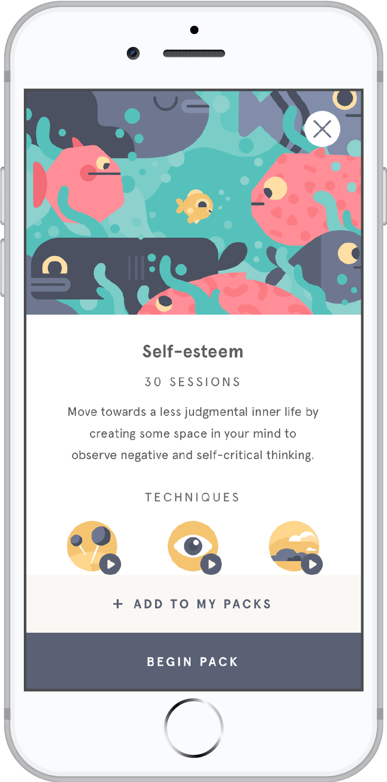 A meditation app on a smartphone