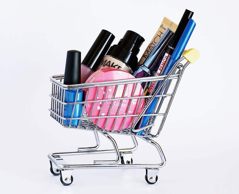 Ingredients in Skincare for Everyone to Avoid: various cosmetics in a tiny cart