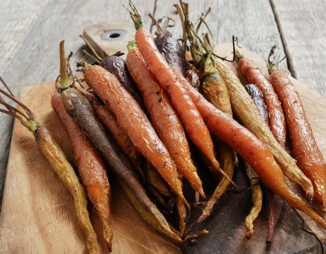 bunch of colourful roasted carrots
