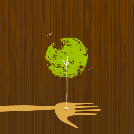 cartoon drawing of a hand receiving a seed from the earth