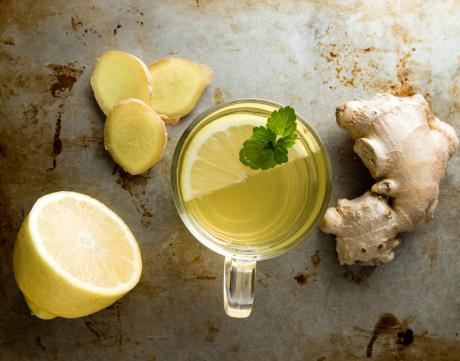 ginger tea, lemons, fresh ginger root