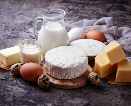 assorted cheeses, eggs, and dairy products