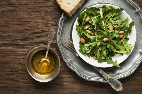 dandelion greens on a plate for salad