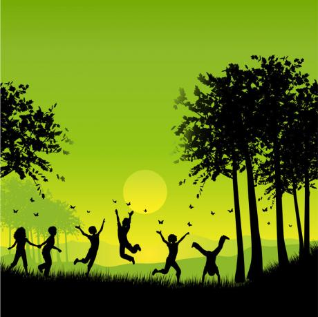 numerous children in silhouette jumping, running and doing cartwheels outside against a bright green background